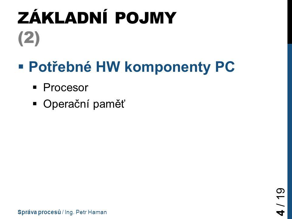 PRÁCE S PROCESY: MOŽNOSTI WINDOWS (2) Správa procesů / Ing. Petr Haman 15 / 19