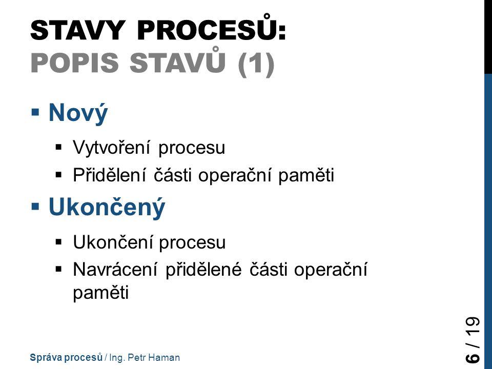 STAVY PROCESŮ: POPIS STAVŮ (1)  Nový  Vytvoření procesu  Přidělení části operační paměti  Ukončený  Ukončení procesu  Navrácení přidělené části operační paměti Správa procesů / Ing.