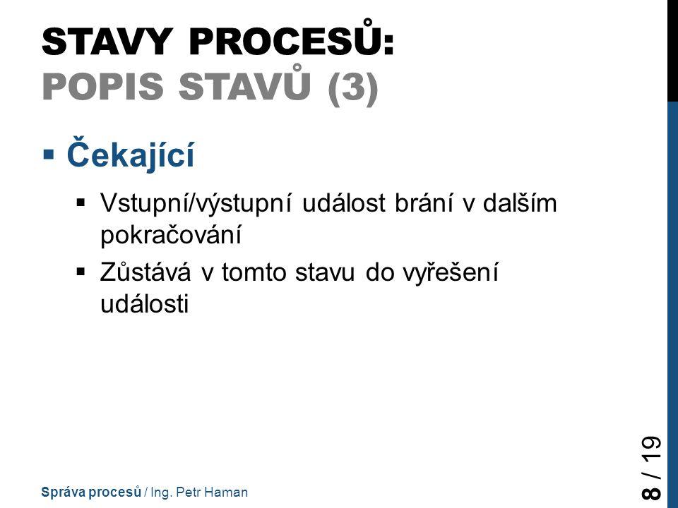 STAVY PROCESŮ: POPIS STAVŮ (3)  Čekající  Vstupní/výstupní událost brání v dalším pokračování  Zůstává v tomto stavu do vyřešení události Správa procesů / Ing.