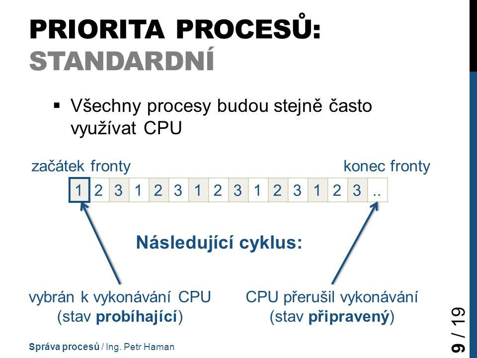 PRIORITA PROCESŮ: STANDARDNÍ  Všechny procesy budou stejně často využívat CPU Správa procesů / Ing.