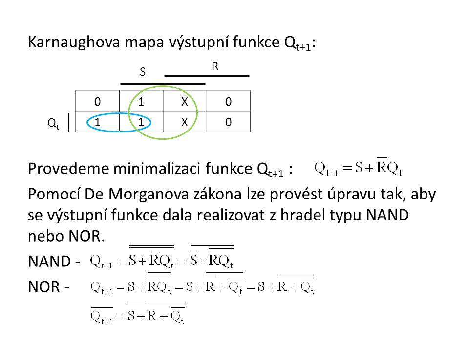 Karnaughova mapa výstupní funkce Q t+1 : Provedeme minimalizaci funkce Q t+1 : Pomocí De Morganova zákona lze provést úpravu tak, aby se výstupní funk