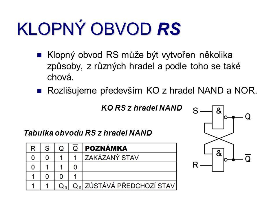 Klopný obvod RS může být vytvořen několika způsoby, z různých hradel a podle toho se také chová. Rozlišujeme především KO z hradel NAND a NOR. KO RS z
