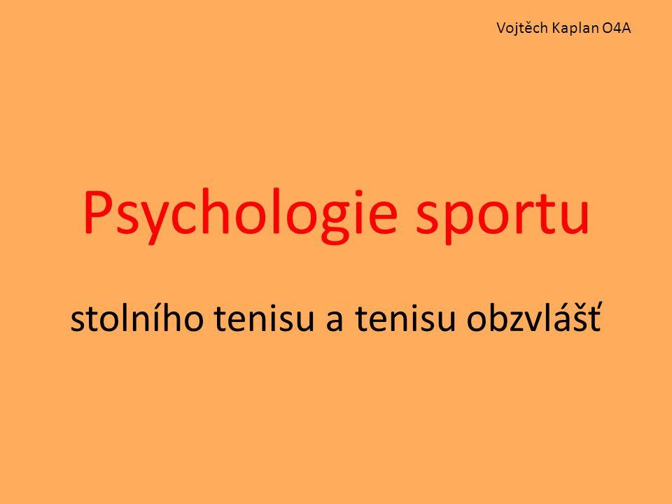 Psychologie sportu stolního tenisu a tenisu obzvlášť Vojtěch Kaplan O4A