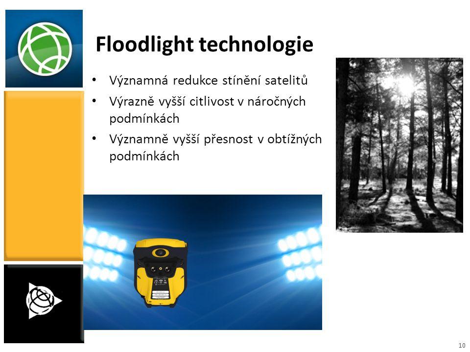 10 Floodlight technologie Významná redukce stínění satelitů Výrazně vyšší citlivost v náročných podmínkách Významně vyšší přesnost v obtížných podmínk