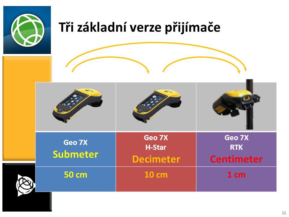 11 Geo 7X Submeter Geo 7X H-Star Decimeter Geo 7X RTK Centimeter 50 cm10 cm1 cm Tři základní verze přijímače