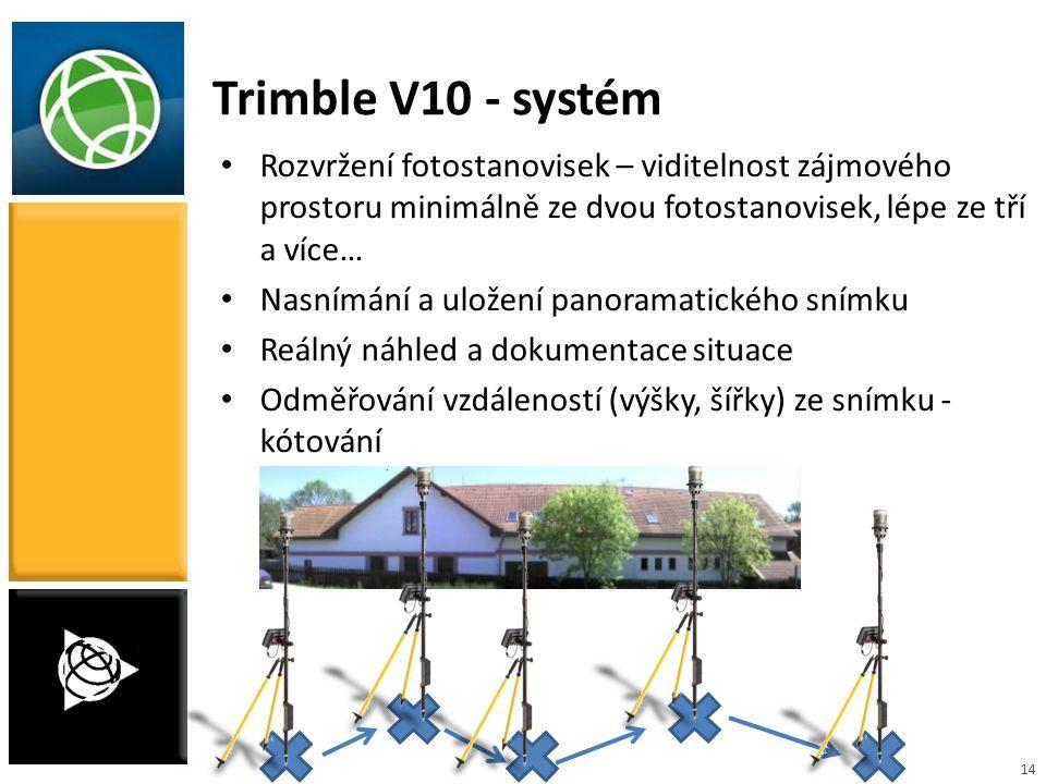 14 Trimble V10 - systém Rozvržení fotostanovisek – viditelnost zájmového prostoru minimálně ze dvou fotostanovisek, lépe ze tří a více… Nasnímání a ul