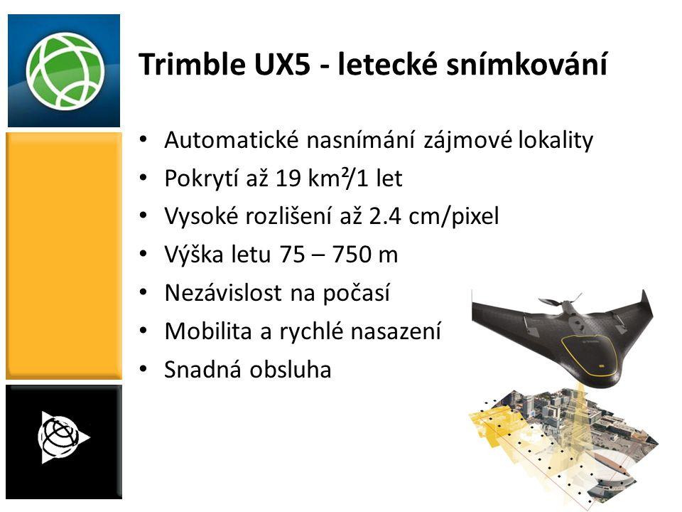 17 Trimble UX5 - letecké snímkování Automatické nasnímání zájmové lokality Pokrytí až 19 km²/1 let Vysoké rozlišení až 2.4 cm/pixel Výška letu 75 – 75