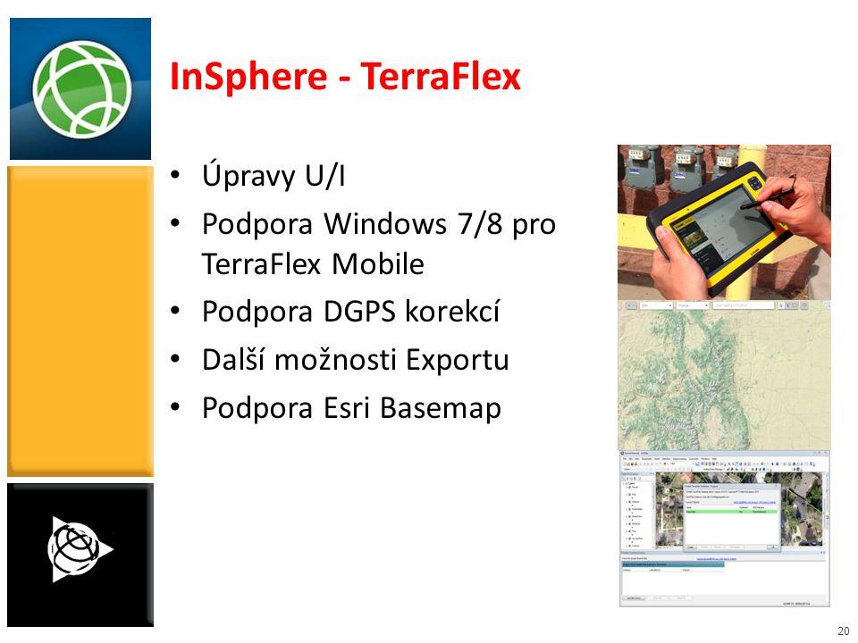 20 Úpravy U/I Podpora Windows 7/8 pro TerraFlex Mobile Podpora DGPS korekcí Další možnosti Exportu Podpora Esri Basemap InSphere - TerraFlex