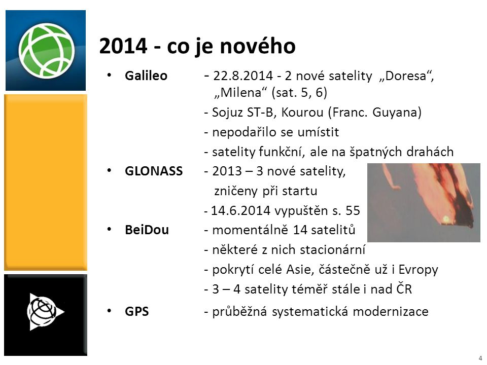 """4 2014 - co je nového Galileo - 22.8.2014 - 2 nové satelity """"Doresa"""", """"Milena"""" (sat. 5, 6) - Sojuz ST-B, Kourou (Franc. Guyana) - nepodařilo se umísti"""