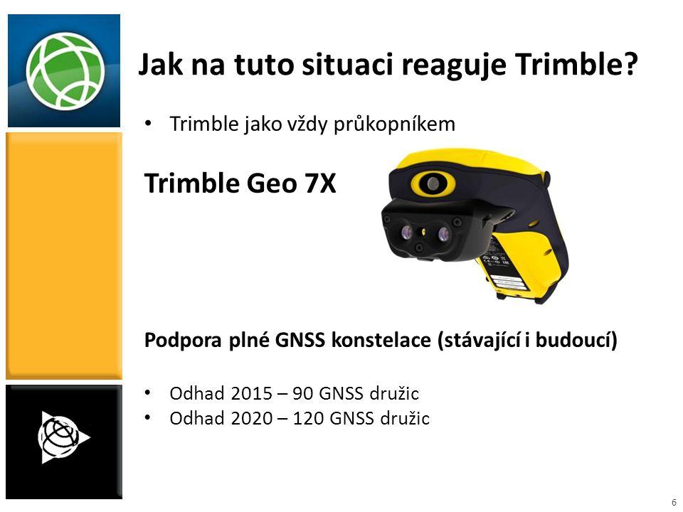 6 Jak na tuto situaci reaguje Trimble? Trimble jako vždy průkopníkem Trimble Geo 7X Podpora plné GNSS konstelace (stávající i budoucí) Odhad 2015 – 90