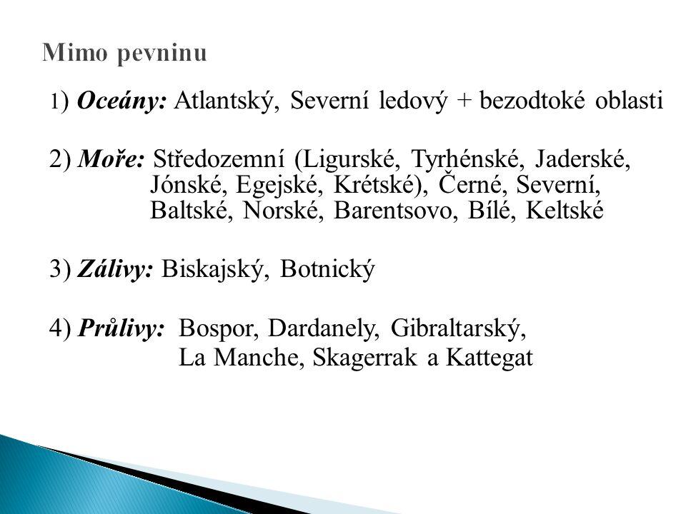 1) Řeky: a) Atlantský oceán a jeho moře: Tajo, Duero, Garonna, Loira, Seina, Temže, Rýn, Labe b) Středozemní moře: Ebro, Rhôna, Pád c) Černé moře: Dunaj, Dněstr, Dněpr d) Kaspické moře: Volha, Ural