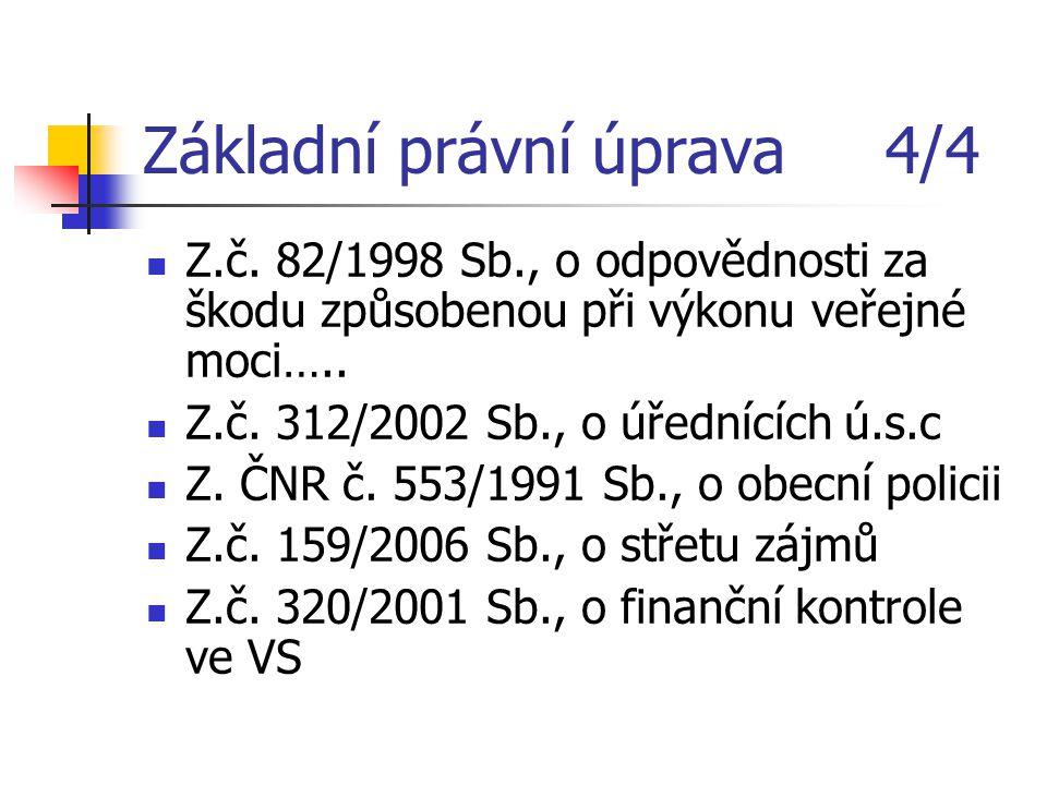 Základní právní úprava 4/4 Z.č. 82/1998 Sb., o odpovědnosti za škodu způsobenou při výkonu veřejné moci….. Z.č. 312/2002 Sb., o úřednících ú.s.c Z. ČN