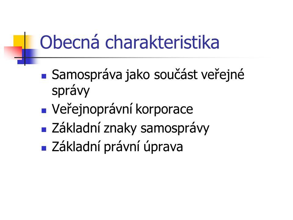 Obecná charakteristika Samospráva jako součást veřejné správy Veřejnoprávní korporace Základní znaky samosprávy Základní právní úprava