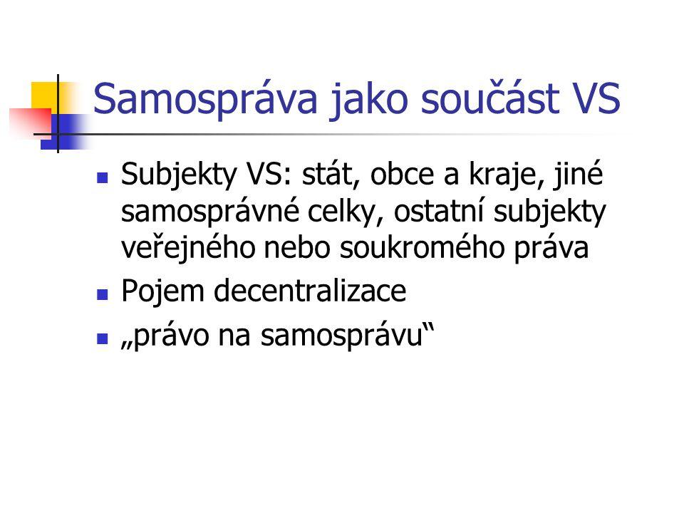Veřejnoprávní korporace Pojem: OZ VPK jako druh právnické osoby VPK zájmového typu VPK územního typu: územní samosprávné celky Základní: obce Vyšší: kraje