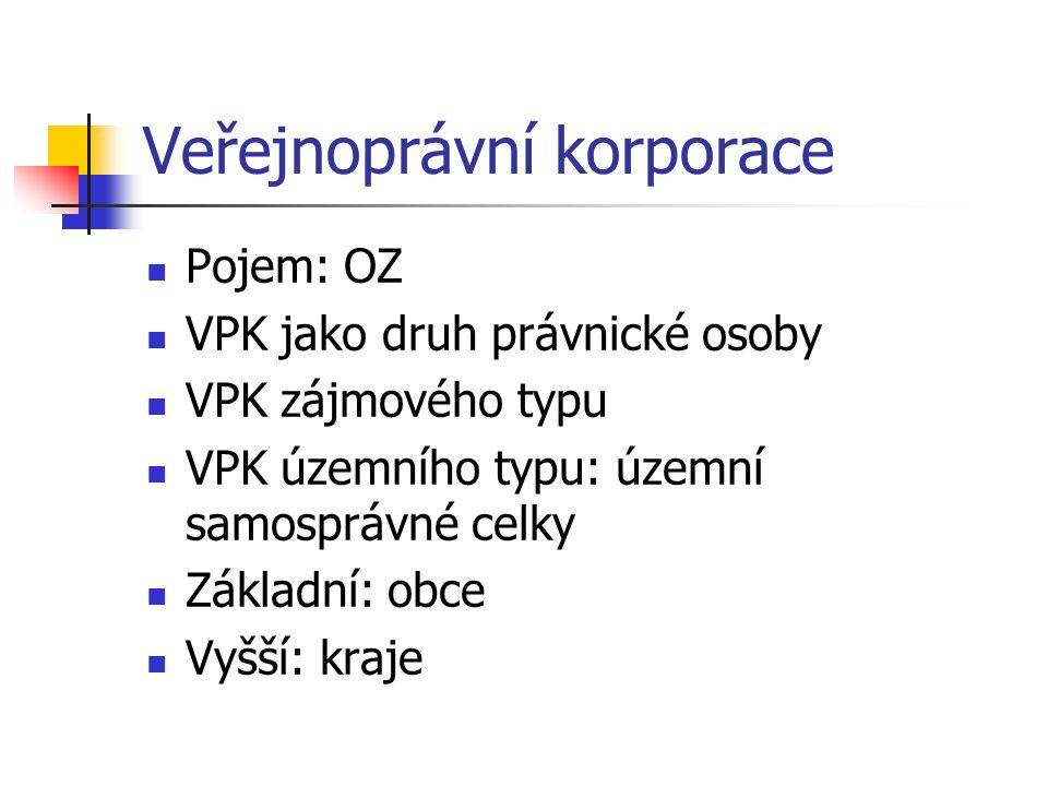 Veřejnoprávní korporace Pojem: OZ VPK jako druh právnické osoby VPK zájmového typu VPK územního typu: územní samosprávné celky Základní: obce Vyšší: k