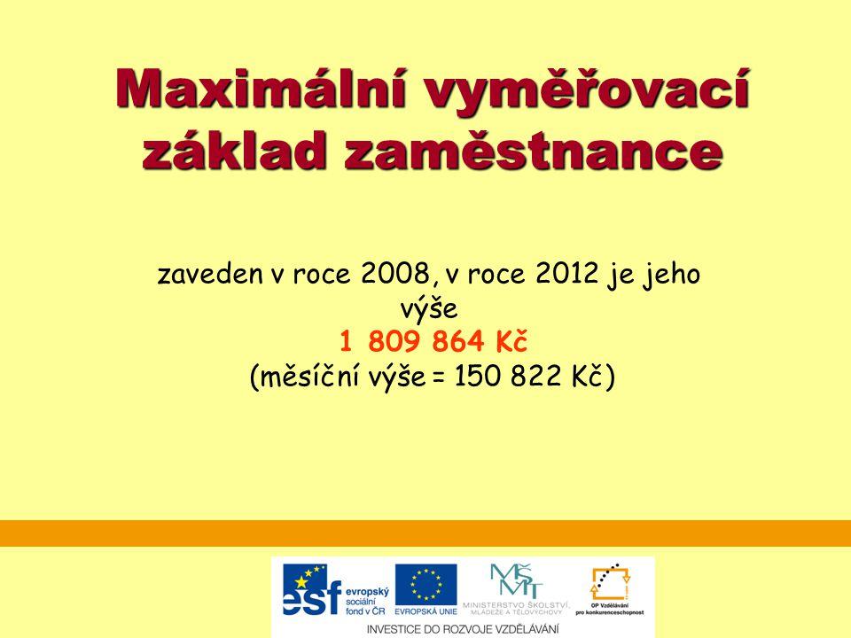 Maximální vyměřovací základ zaměstnance zaveden v roce 2008, v roce 2012 je jeho výše 1 809 864 Kč (měsíční výše = 150 822 Kč)