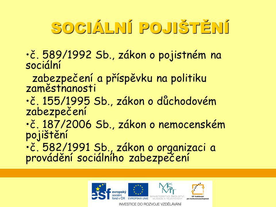 SOCIÁLNÍ POJIŠTĚNÍ č. 589/1992 Sb., zákon o pojistném na sociální zabezpečení a příspěvku na politiku zaměstnanosti č. 155/1995 Sb., zákon o důchodové