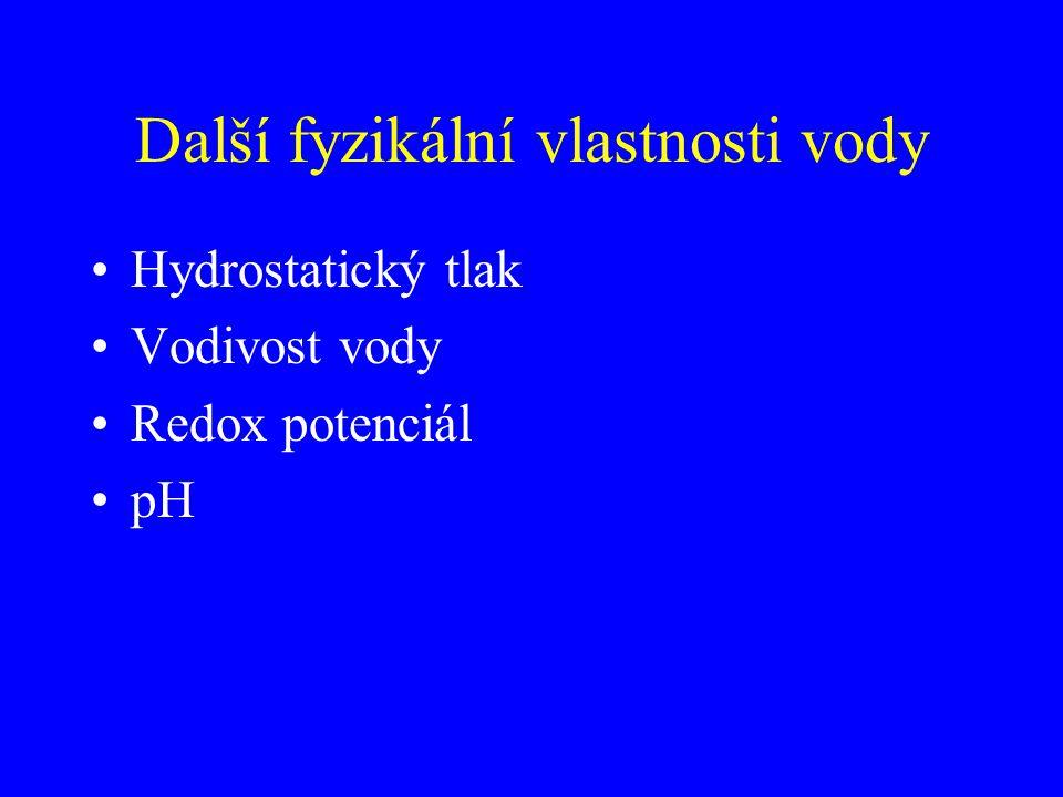 Další fyzikální vlastnosti vody Hydrostatický tlak Vodivost vody Redox potenciál pH