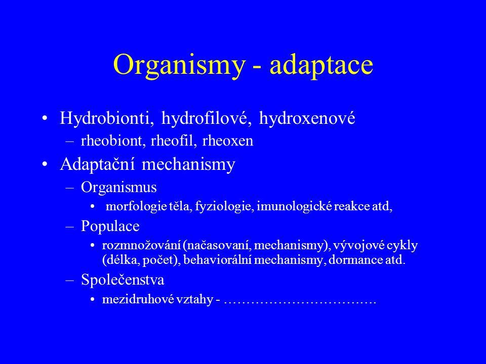 Organismy - adaptace Hydrobionti, hydrofilové, hydroxenové –rheobiont, rheofil, rheoxen Adaptační mechanismy –Organismus morfologie těla, fyziologie,