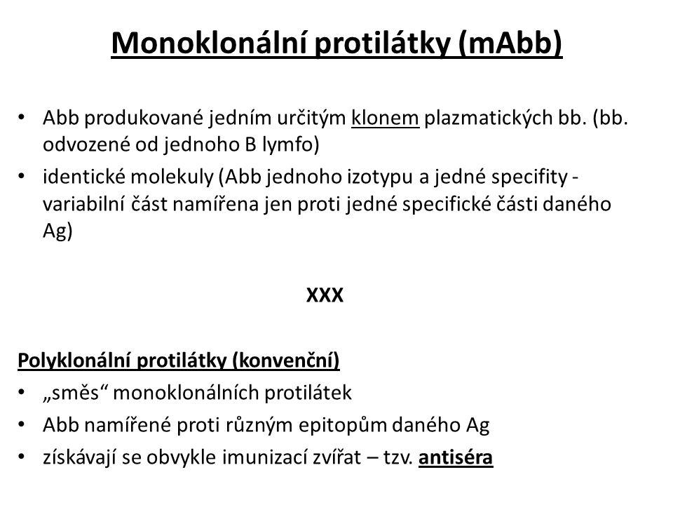 Monoklonální protilátky (mAbb) Abb produkované jedním určitým klonem plazmatických bb.
