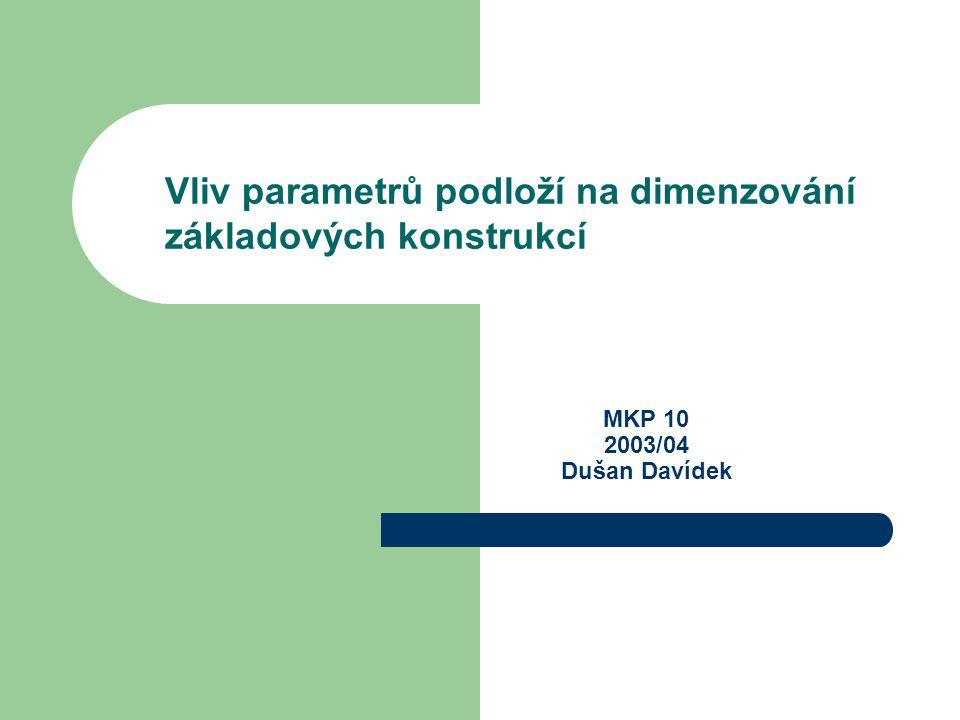 MKP 10 2003/04 Dušan Davídek Vliv parametrů podloží na dimenzování základových konstrukcí