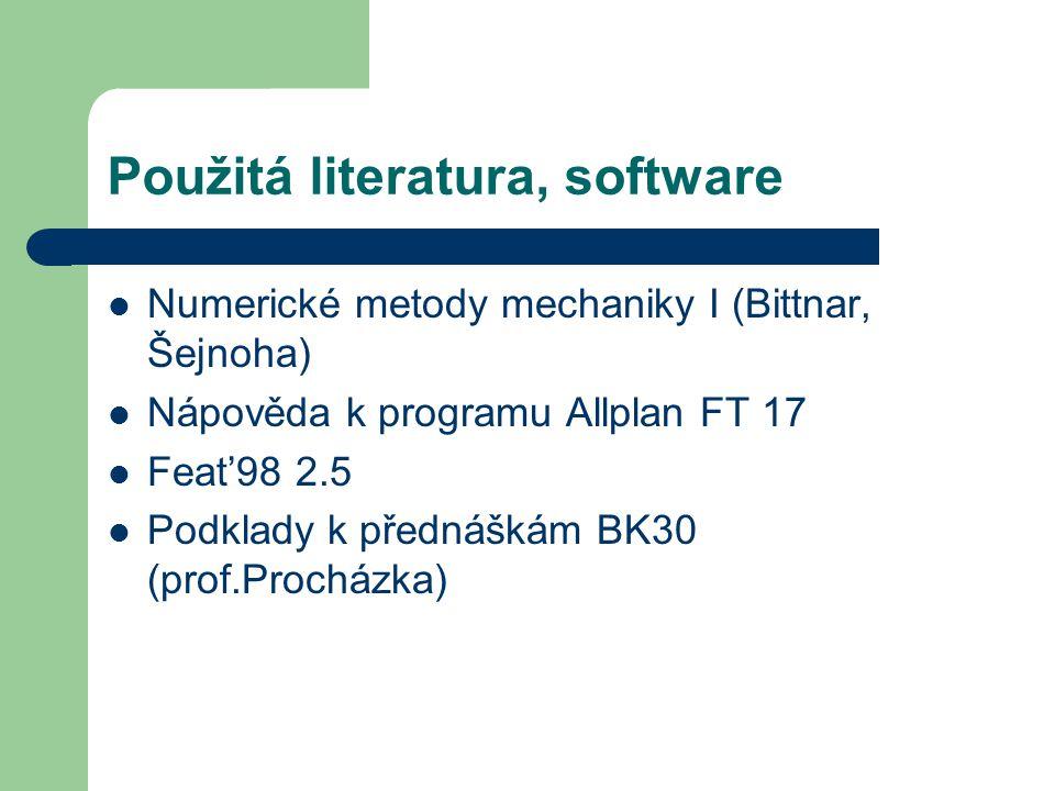 Použitá literatura, software Numerické metody mechaniky I (Bittnar, Šejnoha) Nápověda k programu Allplan FT 17 Feat'98 2.5 Podklady k přednáškám BK30