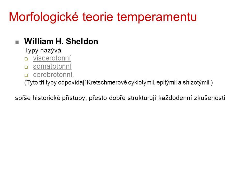 Morfologické teorie temperamentu William H. Sheldon Typy nazývá  viscerotonní  somatotonní  cerebrotonní. (Tyto tři typy odpovídají Kretschmerově c