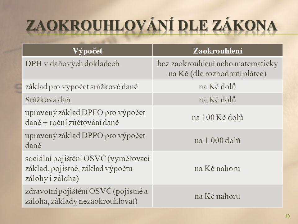 VýpočetZaokrouhlení DPH v daňových dokladechbez zaokrouhlení nebo matematicky na Kč (dle rozhodnutí plátce) základ pro výpočet srážkové daněna Kč dolů Srážková daňna Kč dolů upravený základ DPFO pro výpočet daně + roční zúčtování daně na 100 Kč dolů upravený základ DPPO pro výpočet daně na 1 000 dolů sociální pojištění OSVČ (vyměřovací základ, pojistné, základ výpočtu zálohy i záloha) na Kč nahoru zdravotní pojištění OSVČ (pojistné a záloha, základy nezaokrouhlovat) na Kč nahoru 10