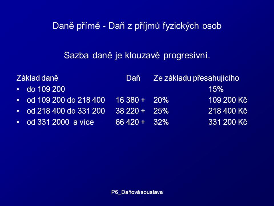 P6_Daňová soustava Daně přímé - Daň z příjmů fyzických osob Sazba daně je klouzavě progresivní.