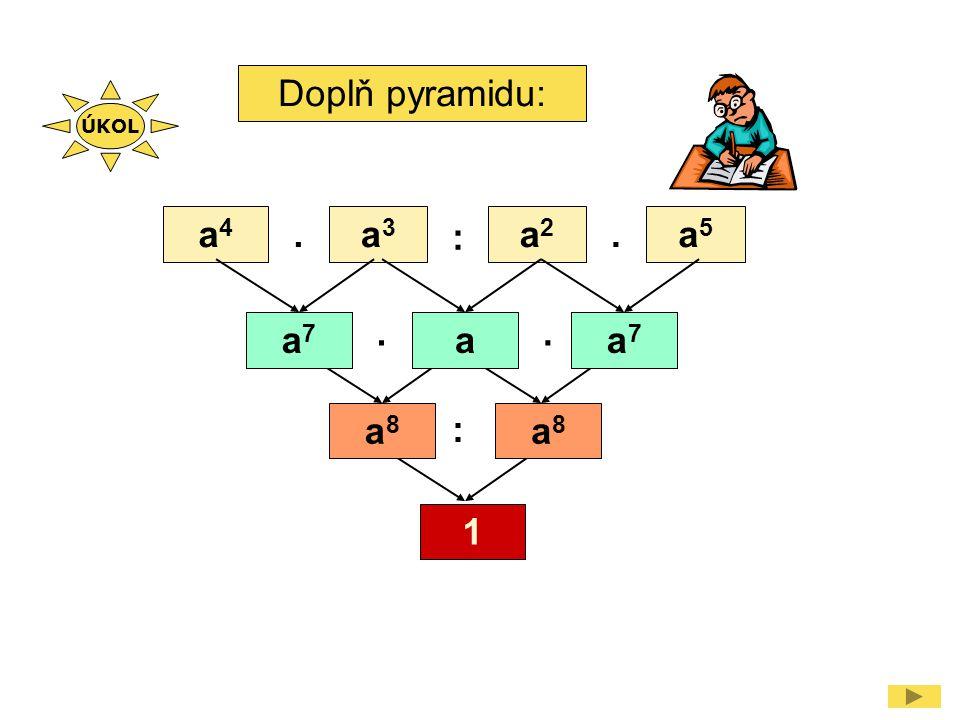 Doplň pyramidu: a4a4 a3a3 a2a2 a5a5.. :.. : a7a7 aa7a7 a8a8 a8a8 ÚKOL 1