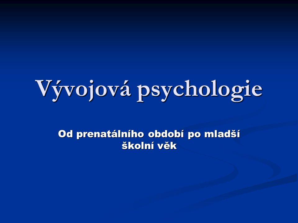 Vývojová psychologie Od prenatálního období po mladší školní věk