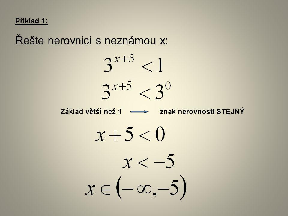 Příklad 1: Řešte nerovnici s neznámou x: Základ větší než 1 znak nerovnosti STEJNÝ