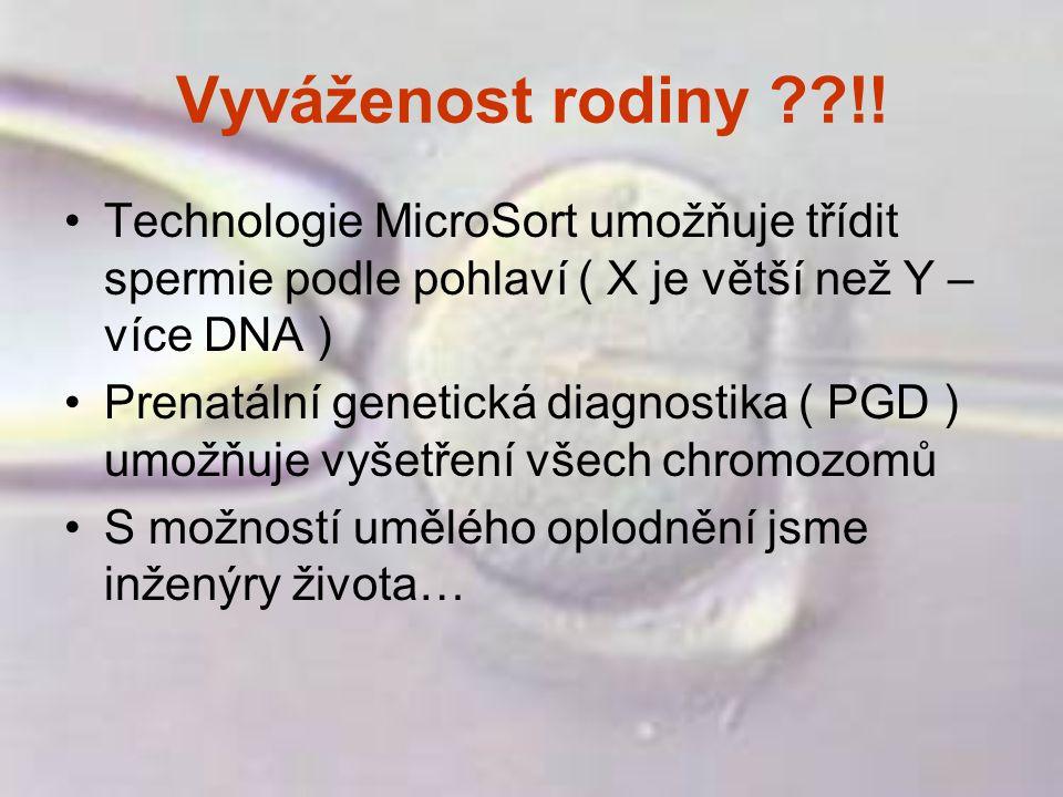 Vyváženost rodiny ??!! Technologie MicroSort umožňuje třídit spermie podle pohlaví ( X je větší než Y – více DNA ) Prenatální genetická diagnostika (