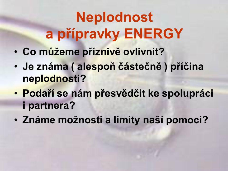 Neplodnost a přípravky ENERGY Co můžeme příznivě ovlivnit? Je známa ( alespoň částečně ) příčina neplodnosti? Podaří se nám přesvědčit ke spolupráci i
