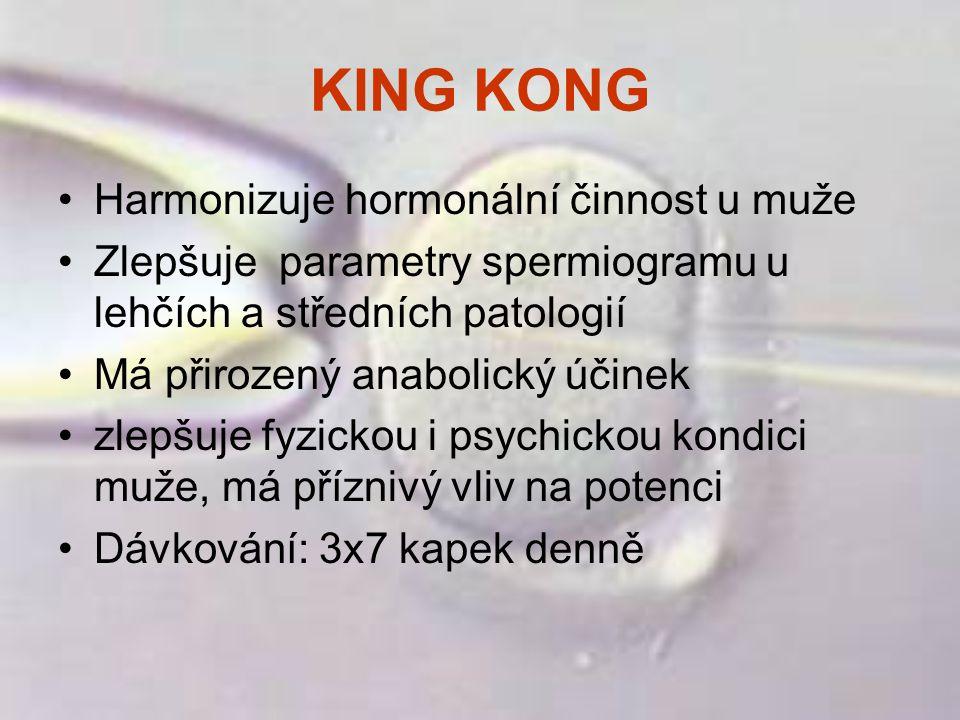 KING KONG Harmonizuje hormonální činnost u muže Zlepšuje parametry spermiogramu u lehčích a středních patologií Má přirozený anabolický účinek zlepšuj