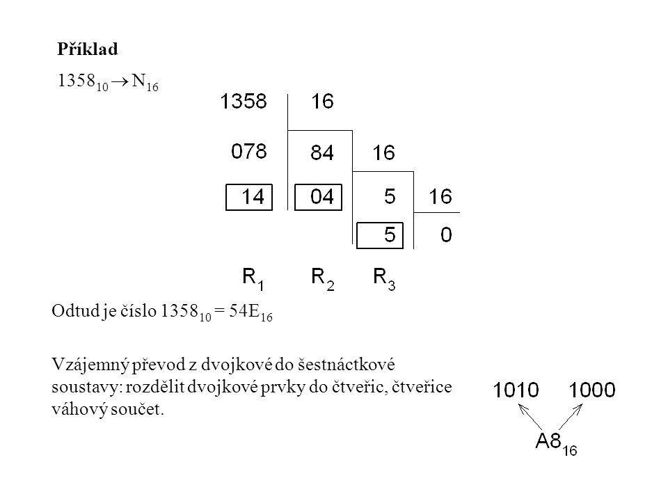 Příklad 1358 10  N 16 Odtud je číslo 1358 10 = 54E 16 Vzájemný převod z dvojkové do šestnáctkové soustavy: rozdělit dvojkové prvky do čtveřic, čtveři