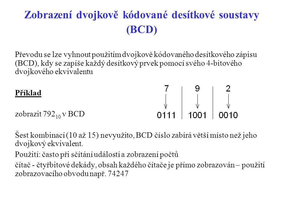 Zobrazení dvojkově kódované desítkové soustavy (BCD) Převodu se lze vyhnout použitím dvojkově kódovaného desítkového zápisu (BCD), kdy se zapíše každý