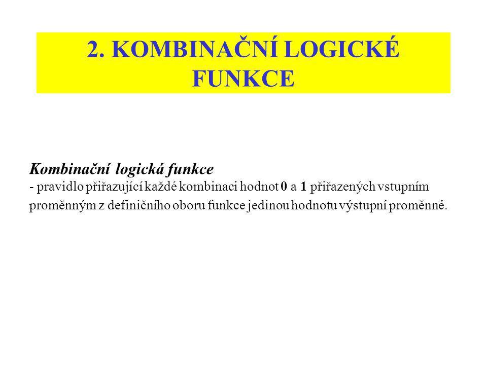2. KOMBINAČNÍ LOGICKÉ FUNKCE Kombinační logická funkce - pravidlo přiřazující každé kombinaci hodnot 0 a 1 přiřazených vstupním proměnným z definičníh