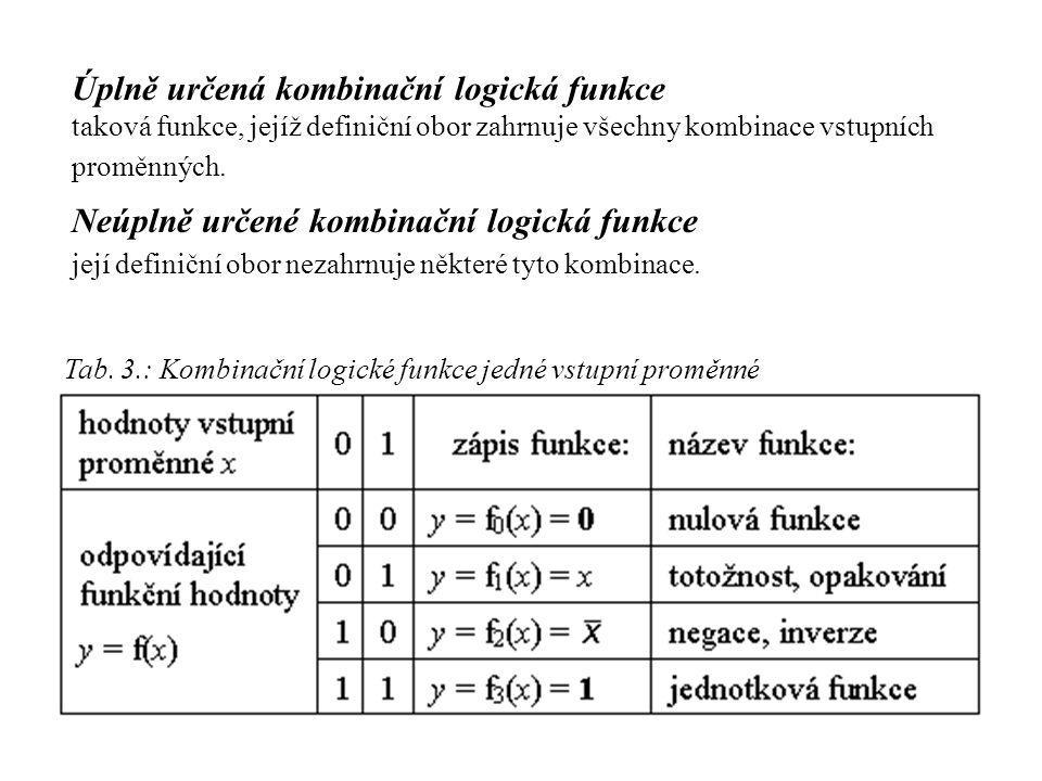 Tab. 3.: Kombinační logické funkce jedné vstupní proměnné Úplně určená kombinační logická funkce taková funkce, jejíž definiční obor zahrnuje všechny
