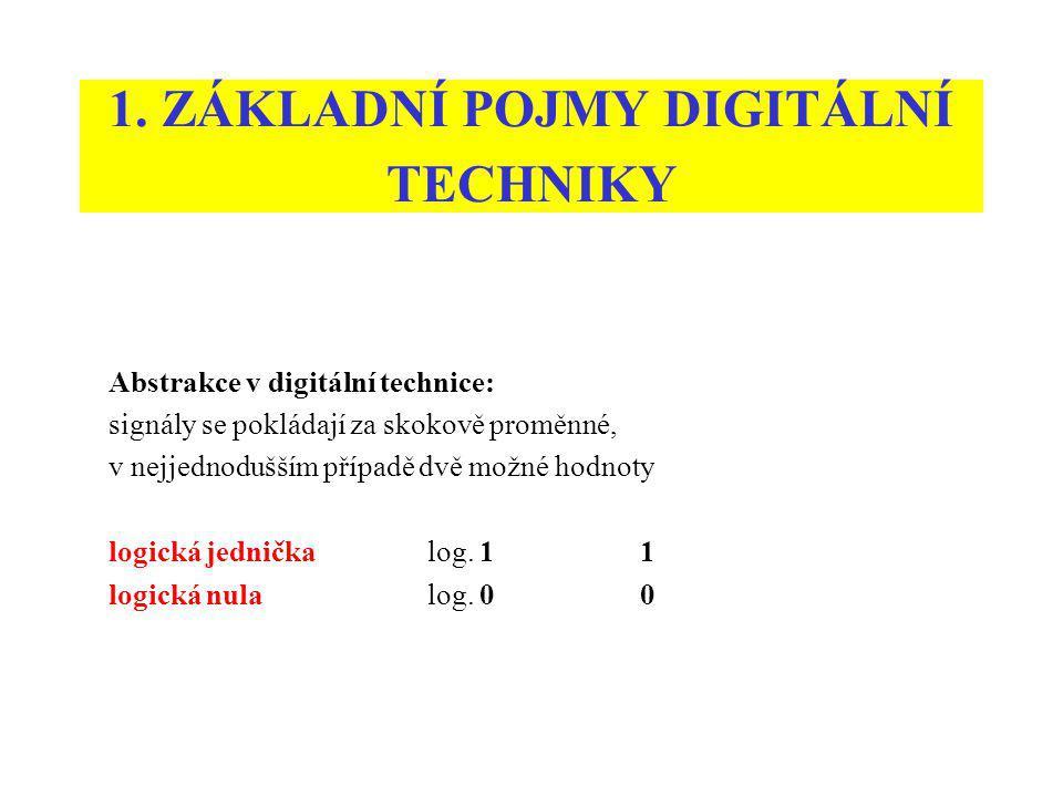 1. ZÁKLADNÍ POJMY DIGITÁLNÍ TECHNIKY Abstrakce v digitální technice: signály se pokládají za skokově proměnné, v nejjednodušším případě dvě možné hodn