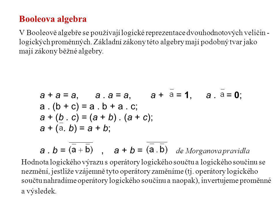 a + a = a, a. a = a, a + = 1, a. = 0; a. (b + c) = a. b + a. c; a + (b. c) = (a + b). (a + c); a + (. b) = a + b; a. b =, a + b = de Morganova pravidl