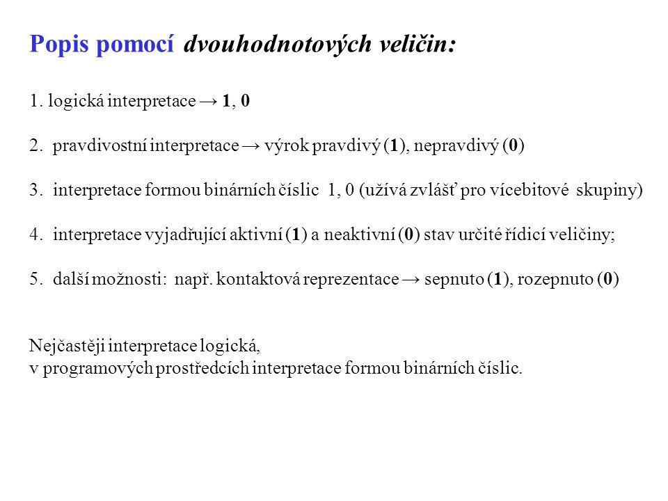 Popis pomocí dvouhodnotových veličin: 1. logická interpretace → 1, 0 2. pravdivostní interpretace → výrok pravdivý (1), nepravdivý (0) 3. interpretace