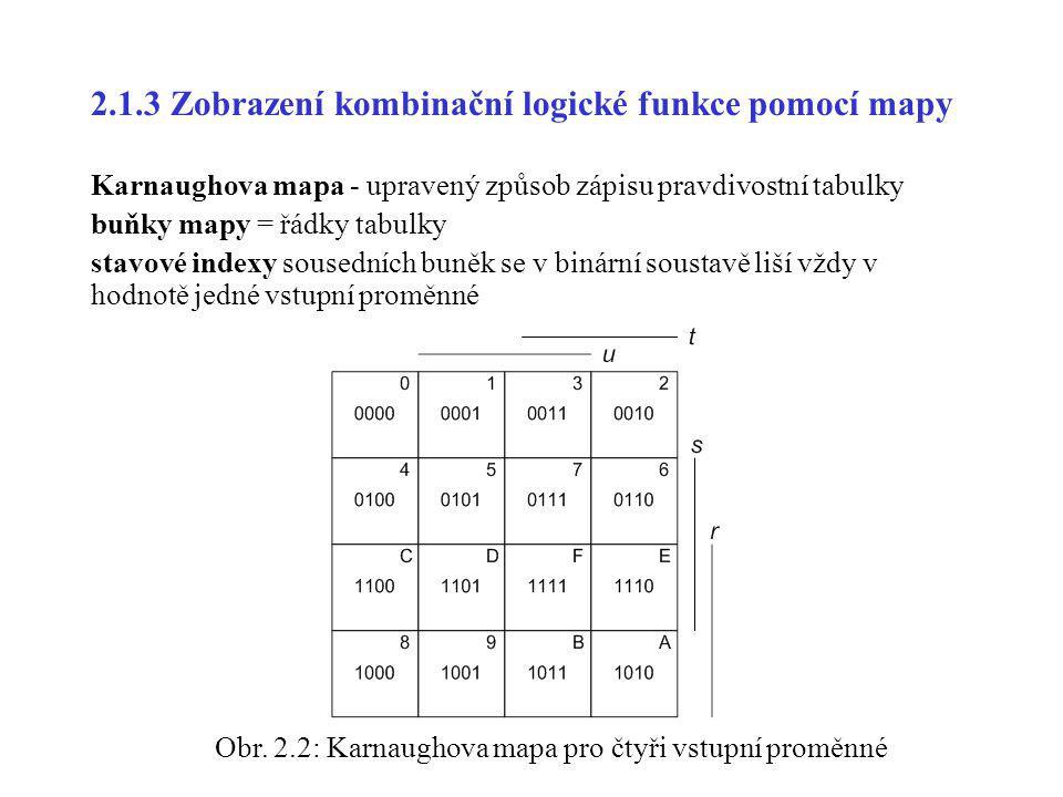 2.1.3 Zobrazení kombinační logické funkce pomocí mapy Karnaughova mapa - upravený způsob zápisu pravdivostní tabulky buňky mapy = řádky tabulky stavov