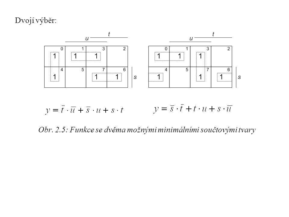Obr. 2.5: Funkce se dvěma možnými minimálními součtovými tvary Dvojí výběr: