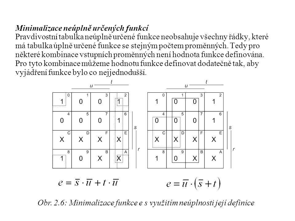 Minimalizace neúplně určených funkcí Pravdivostní tabulka neúplně určené funkce neobsahuje všechny řádky, které má tabulka úplně určené funkce se stej