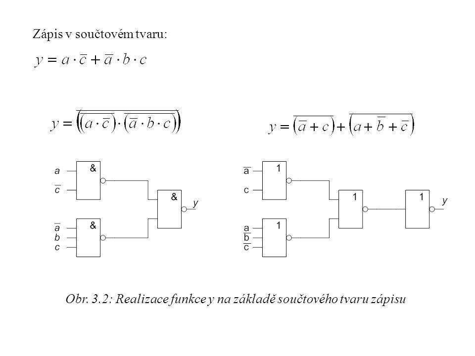 Obr. 3.2: Realizace funkce y na základě součtového tvaru zápisu Zápis v součtovém tvaru: