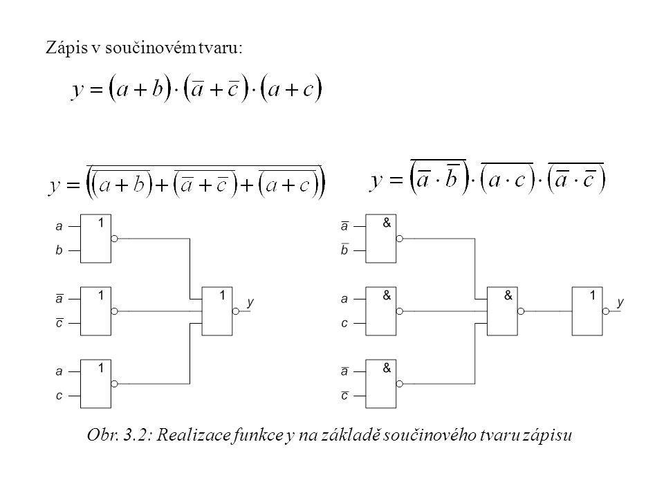 Obr. 3.2: Realizace funkce y na základě součinového tvaru zápisu Zápis v součinovém tvaru: