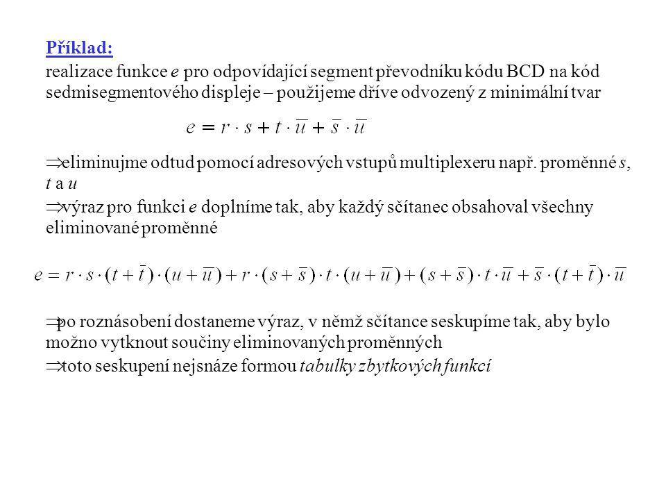 Příklad: realizace funkce e pro odpovídající segment převodníku kódu BCD na kód sedmisegmentového displeje – použijeme dříve odvozený z minimální tvar