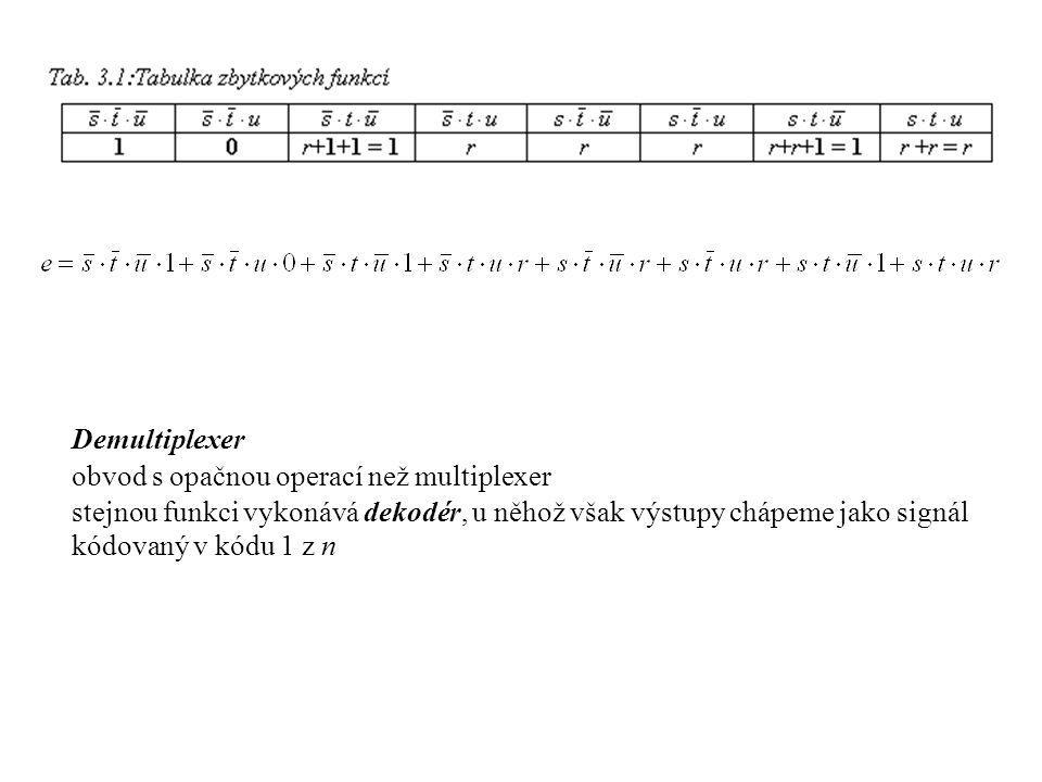 Demultiplexer obvod s opačnou operací než multiplexer stejnou funkci vykonává dekodér, u něhož však výstupy chápeme jako signál kódovaný v kódu 1 z n