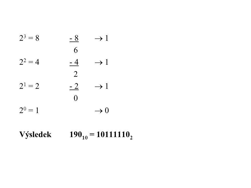 2 3 = 8- 8  1 6 2 2 = 4- 4  1 2 2 1 = 2- 2  1 0 2 0 = 1  0 Výsledek190 10 = 10111110 2